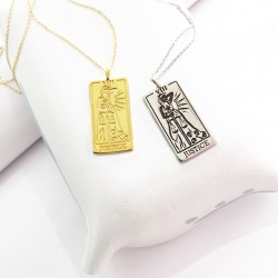Justice Tarot Card Necklace