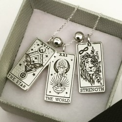 Silver 925 - Two or Three Tarot Cards in one Necklace
