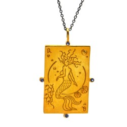 "Queen card pendant ""The Medusa Mermaid"""